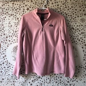 Pink North Face quarter zip pullover